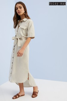 Noisy May Linen/Cotton Shirt Dress