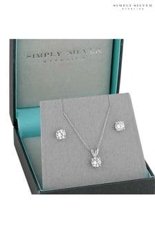 Simply Silbernes Set mit Halskette und Ohrringe mit runden Cubic-Zirkonia in einer Geschenkschachtel