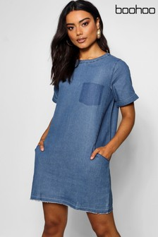 596eba26d8a Boohoo Slouch Pocket Denim Dress