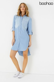 Boohoo Denim Roll Back Sleeve Shirt Dress
