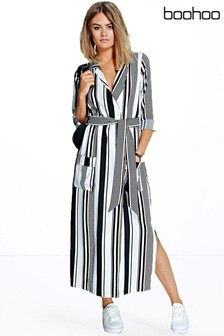 cc5455f8b9a Boohoo Stripe Maxi Shirt Dress