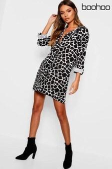 Boohoo Giraffe Print Shirt Dress