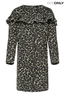 Kids Only Leopard Print Long Sleeve Jersey Dress