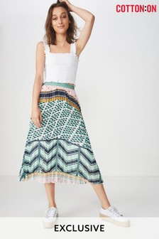 Cotton On Pleated Animal Midi Skirt