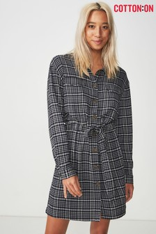 Cotton On Denim Wash Check Shirt Dress