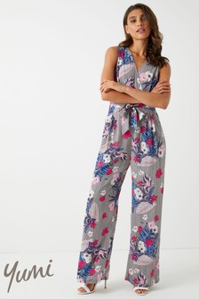 Yumi Stripe And Flower Wrap Jumpsuit