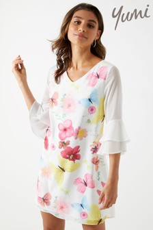 Yumi Pressed Butterfly Print Tunic Dress