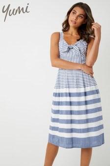 Yumi Stripe Dress With Tie Knot Detail