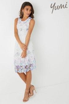 Yumi Flower Mirror Print Lace Dress