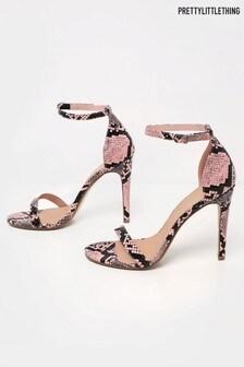 PrettyLittleThing Snake Print Dressy Sandals