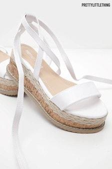 PrettyLittleThing Tie Leg Platform Espadrilles Sandals