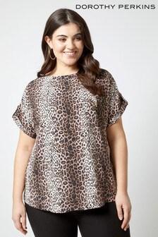 Dorothy Perkins Curve Leopard Print Horn Button Soft Tee