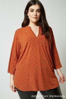 Dorothy Perkins Curve Spot Button Shirt