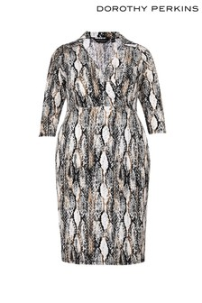 Dorothy Perkins Curve Snake Print Shirt Midi Dress