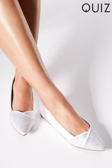Quiz Bridal Satin Diamanté Pointed Toe Pump