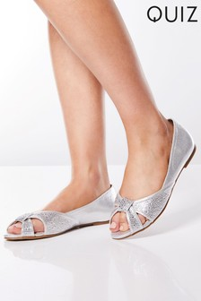 Quiz Bridal Shimmer Diamanté Peep Toe Pumps