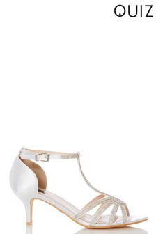 Quiz Bridal Satin T-Bar Sandals