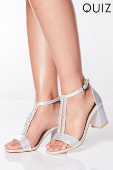 Quiz Shimmer Diamanté T-Bar Flare Heel Sandals
