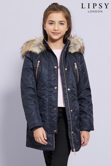 Lipsy Girl Shower Resistant Faux Fur Padded Parka