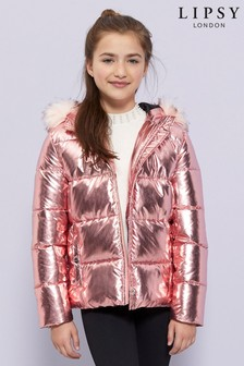 Lipsy Girl Shower Resistant High Shine Padded Jacket