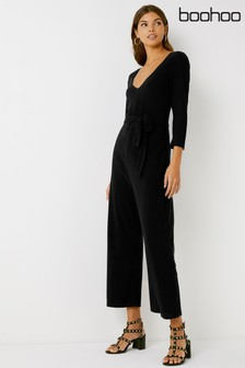 Boohoo V neck Ribbed Jumpsuit