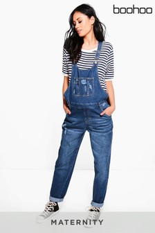 Boohoo Maternity Denim Dungaree Jumpsuit