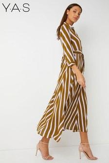 Vestido camisero largo con diseño en zigzag de Y.A.S