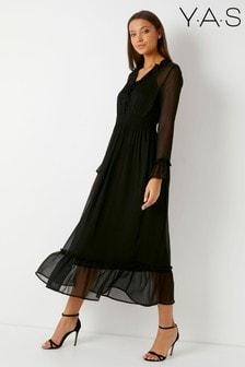 Vestido largo con diseño texturizado de Y.A.S