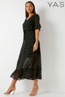 Y.A.S Ditsy Print Maxi Dress With Frill Detailing