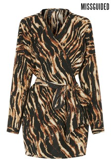 Missguided Curve Tiger Print Belted Longline Top