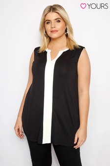 Yours Contrast Pintuck Sleeveless Shirt