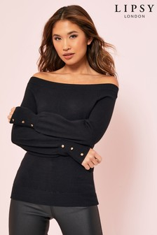 Lipsy Bardot Button Cuff Jumper