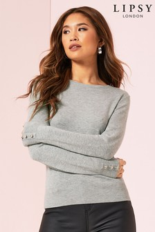 Lipsy Diamonte Button Cuff Crew Neck Jumper