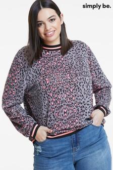 Simply Be Jacquard Animal Neon with Sports Trim Sweatshirt
