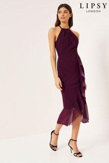 Lipsy Spot Halter Frill Midi Dress