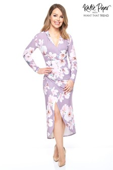 Want That Trend Slinky Floral Wrap Dress