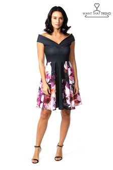 Want That Trend Floral Bardot Skater Dress