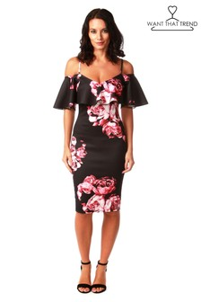 Want That Trend Floral Frill Bodycon Dress