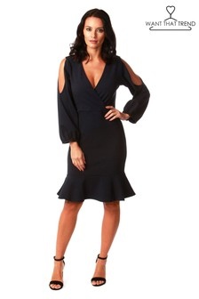 Want That Trend Cutout Sleeve Dress