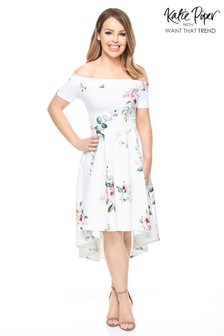Want That Trend Floral Bardot Dip Hem Dress