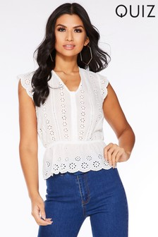 Quiz Frill Sleeve Peplum Top