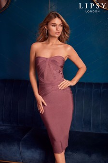 Lipsy Bardot Panelled Bandage Midi Dress