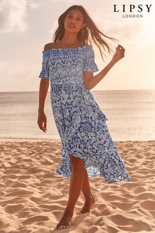 Lipsy Boho Printed Shirred Maxi Dress