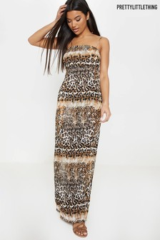PrettyLittleThing Leopard Print Beach Maxi Dress