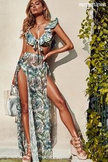 PrettyLittleThing Leafy Frill Split Maxi Skirt