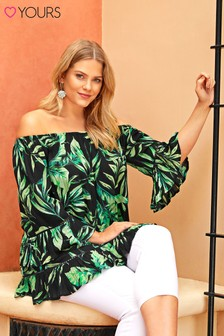 Yours Gypsy Bardot Palm Print Top