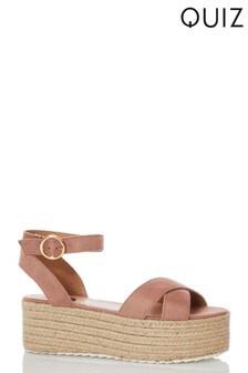 Quiz Faux Suede X Strap Flatform Wedge Sandals