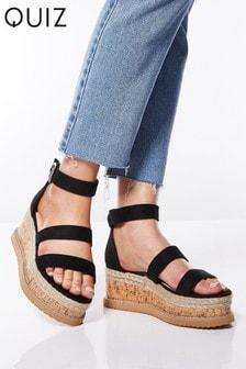 Quiz Faux Suede Triple Strap Flatform Wedge Sandals
