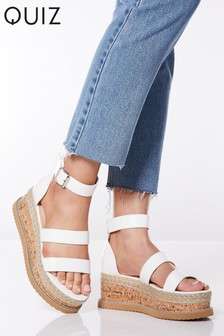 Quiz Faux Suede Triple Strap Flatform Wedge Sandals