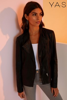 Y.A.S Collarless Leather Biker Jacket